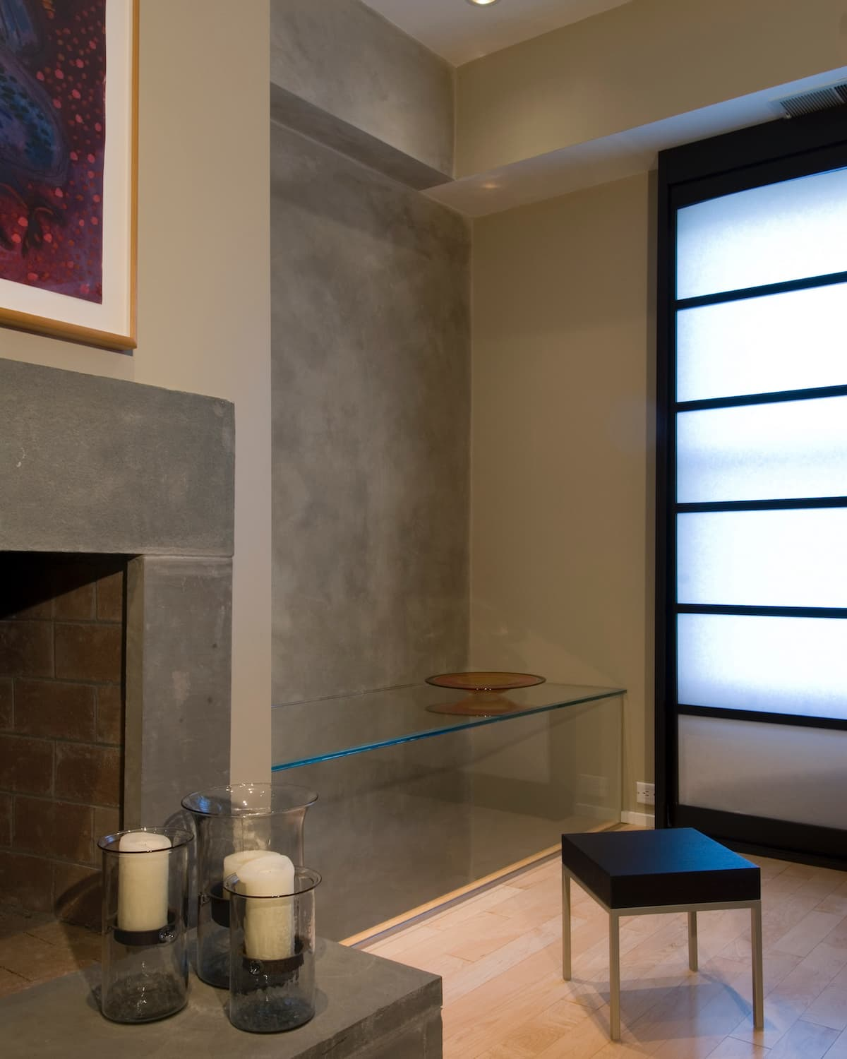 boston waterfront townhome den and glass bench